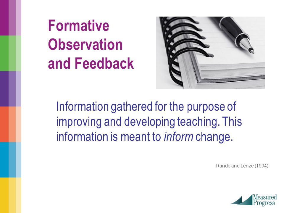 Formative Observation and Feedback Information gathered for the purpose of improving and developing teaching.