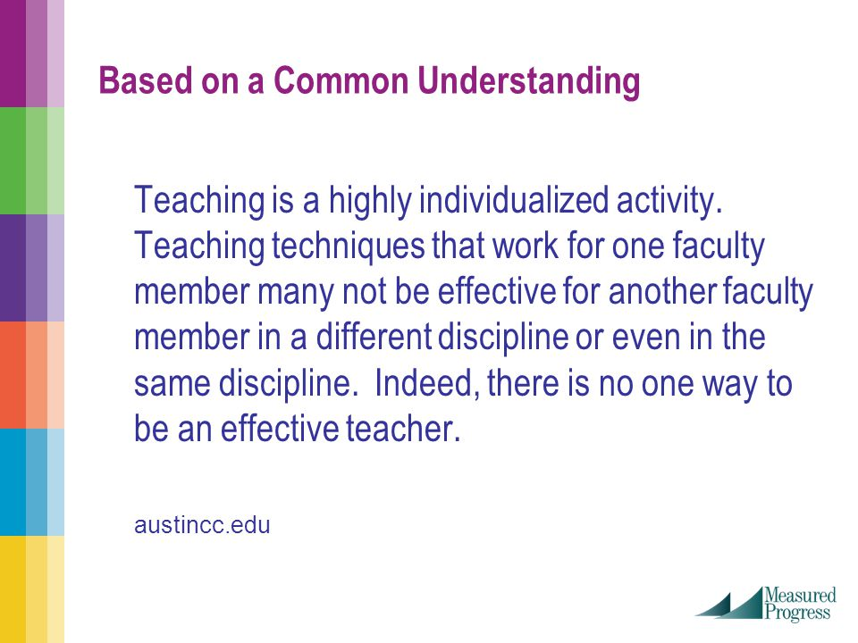 Based on a Common Understanding Teaching is a highly individualized activity.