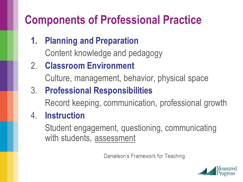 Components of Professional Practice 1.Planning and Preparation Content knowledge and pedagogy 2.