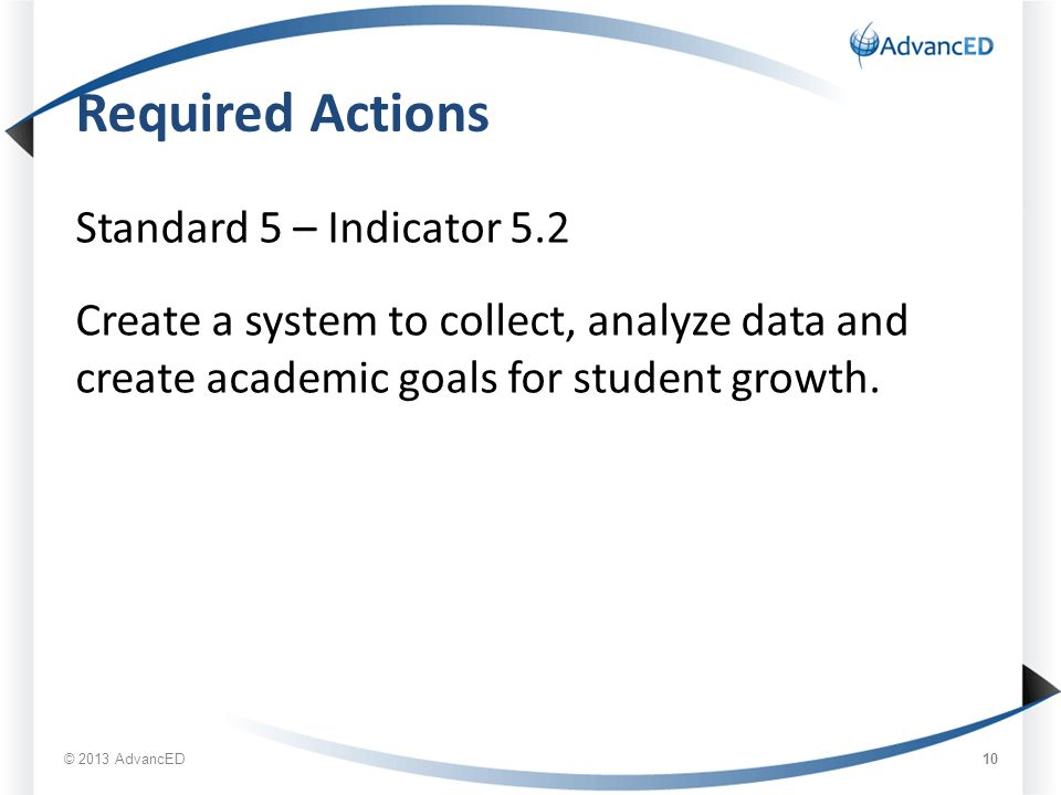 Required Actions Standard 5 – Indicator 5.2 Create a system to collect, analyze data and create academic goals for student growth.