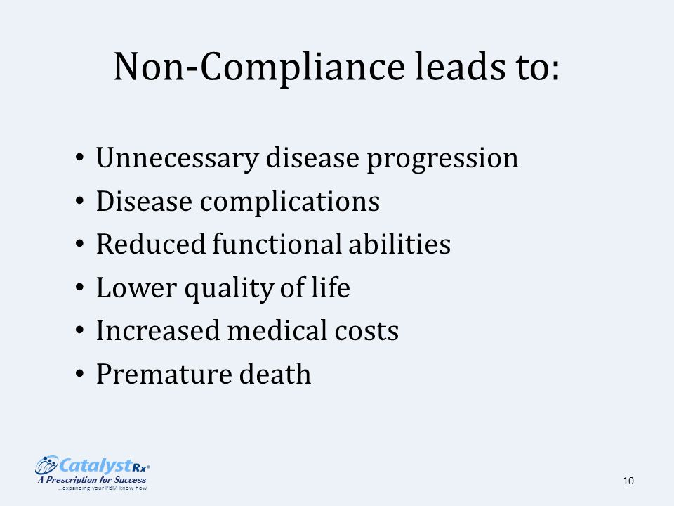 10 Non Compliance Leads To Unnecessary Disease Progression Complications Reduced Functional Abilities Lower Quality Of Life Increased Medical Costs