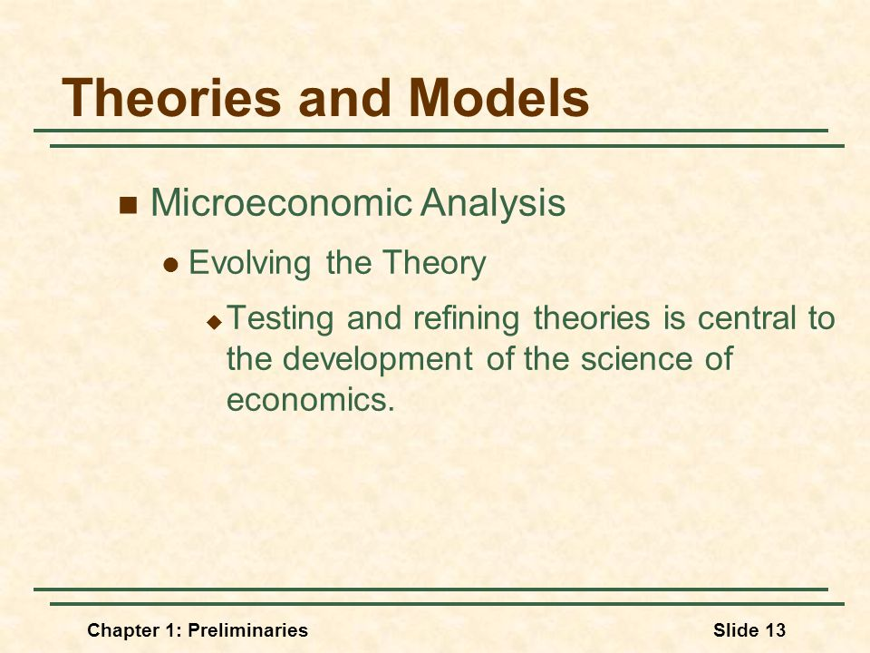Chapter 1: PreliminariesSlide 13 Theories and Models Microeconomic Analysis Evolving the Theory  Testing and refining theories is central to the development of the science of economics.