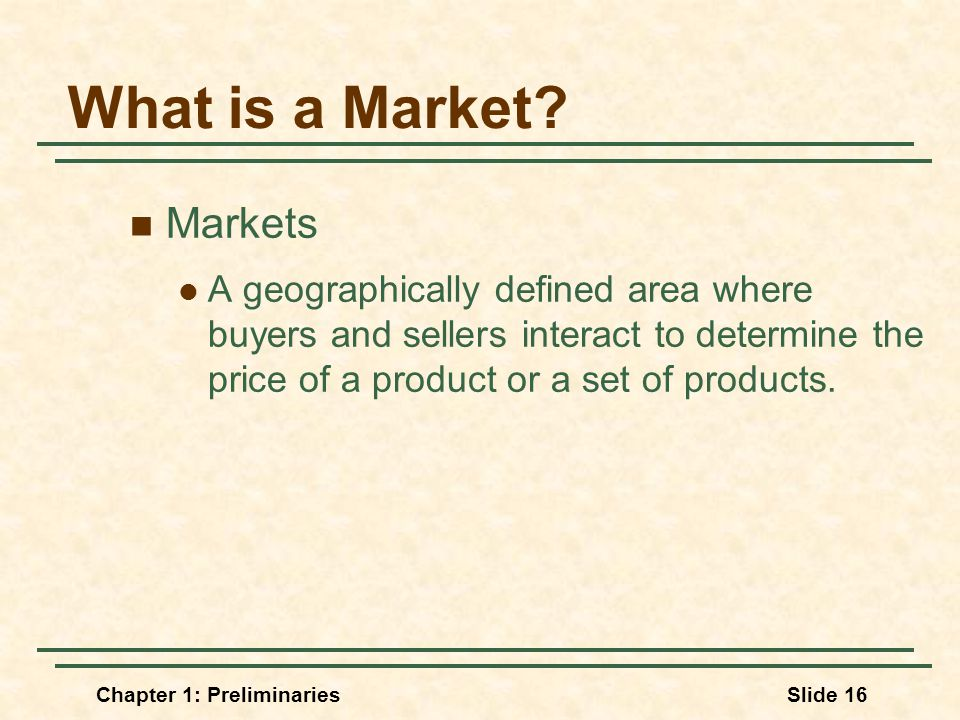 Chapter 1: PreliminariesSlide 16 What is a Market.