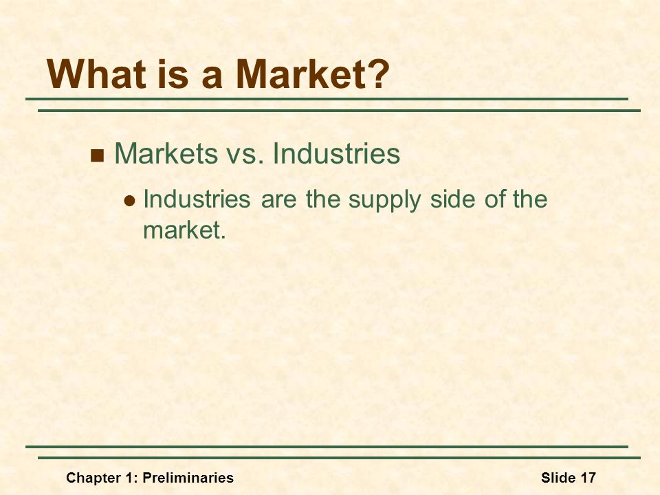 Chapter 1: PreliminariesSlide 17 What is a Market.