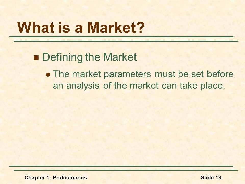 Chapter 1: PreliminariesSlide 18 What is a Market.