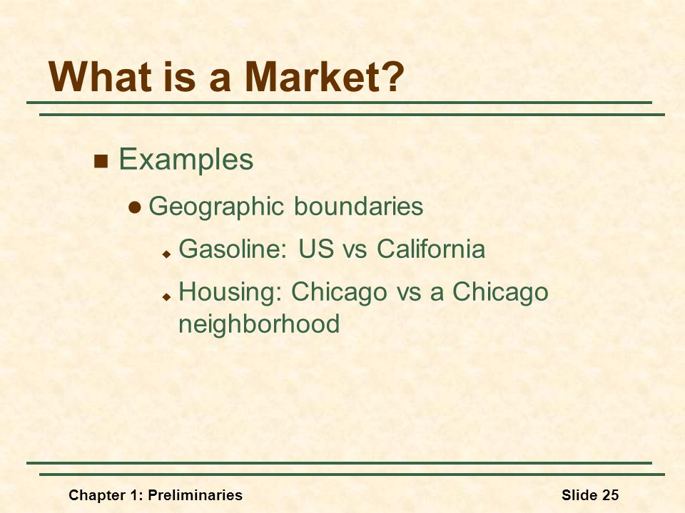 Chapter 1: PreliminariesSlide 25 What is a Market.