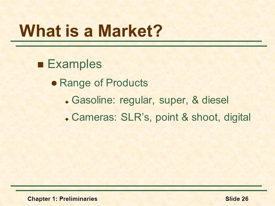 Chapter 1: PreliminariesSlide 26 What is a Market.