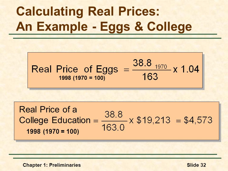 Chapter 1: PreliminariesSlide 32 Calculating Real Prices: An Example - Eggs & College Real Price of a College Education 1998 (1970 = 100)