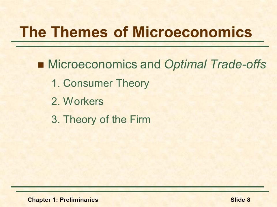 Chapter 1: PreliminariesSlide 8 The Themes of Microeconomics Microeconomics and Optimal Trade-offs 1.