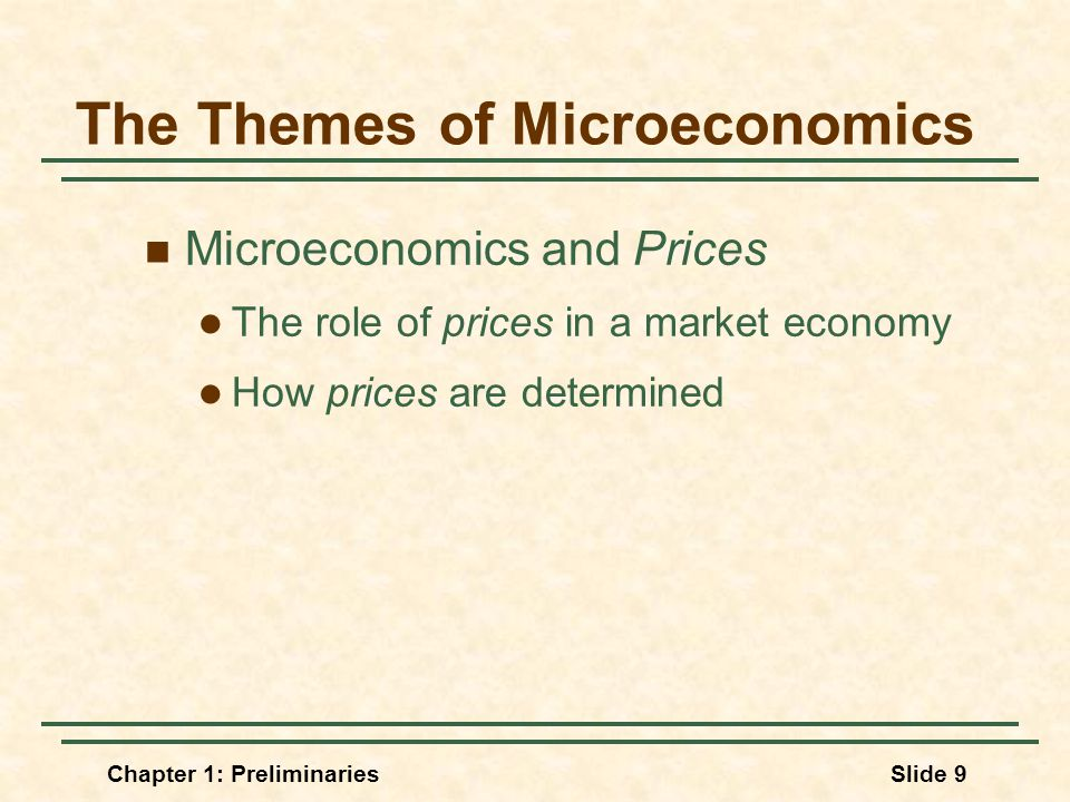 Chapter 1: PreliminariesSlide 9 The Themes of Microeconomics Microeconomics and Prices The role of prices in a market economy How prices are determined