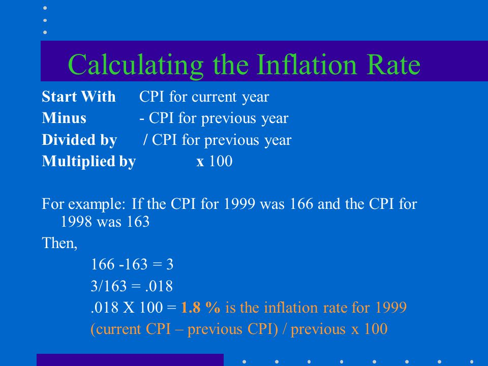 Calculating the CPI Current price / base period price x 100 $400/$200 x 100 = 200 This would tell us that prices doubled over the past year.