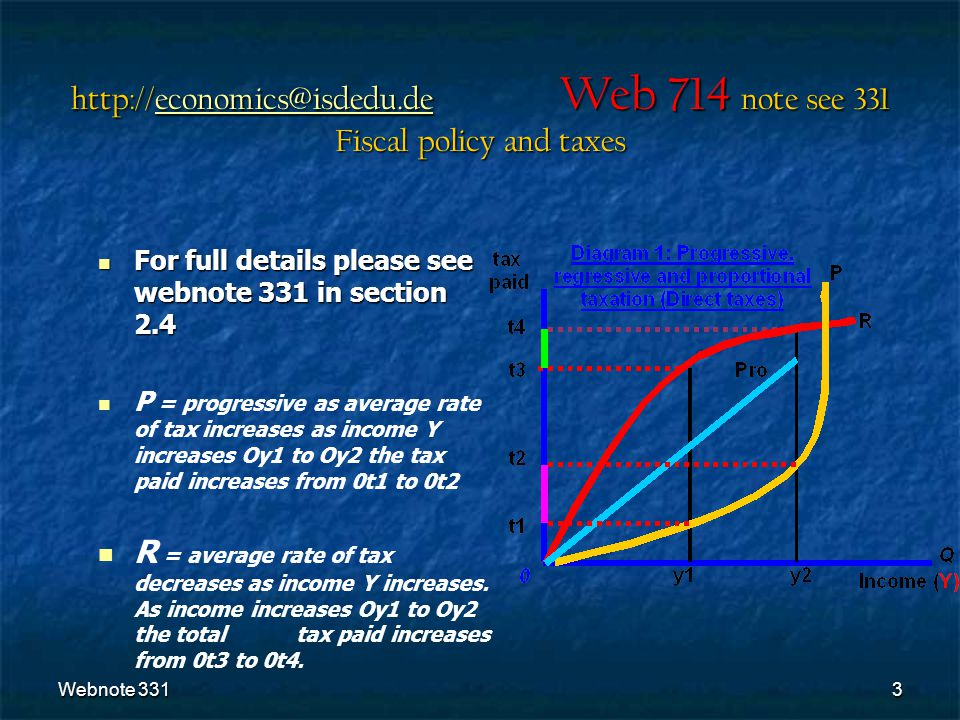 Webnote 3313 For full details please see webnote 331 in section 2.4 For full details please see webnote 331 in section 2.4 P = progressive as average rate of tax increases as income Y increases Oy1 to Oy2 the tax paid increases from 0t1 to 0t2 R = average rate of tax decreases as income Y increases.