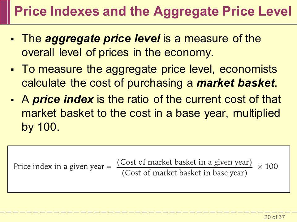 20 of 37 Price Indexes and the Aggregate Price Level  The aggregate price level is a measure of the overall level of prices in the economy.