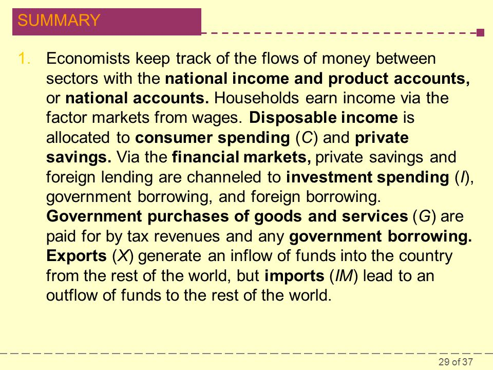 29 of 37 SUMMARY 1.Economists keep track of the flows of money between sectors with the national income and product accounts, or national accounts.