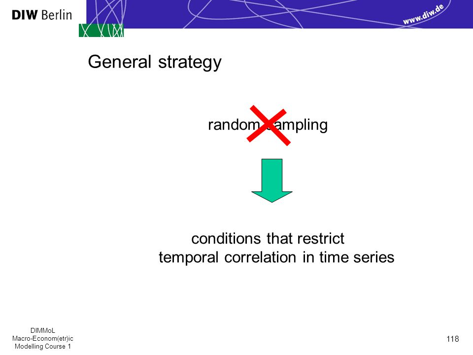 DIMMoL Macro-Econom(etr)ic Modelling Course 1 118 General strategy random sampling conditions that restrict temporal correlation in time series