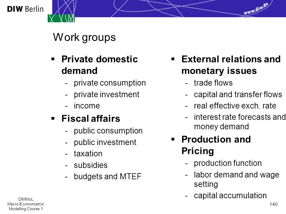 DIMMoL Macro-Econom(etr)ic Modelling Course 1 140 Work groups  Private domestic demand -private consumption -private investment -income  Fiscal affairs -public consumption -public investment -taxation -subsidies -budgets and MTEF  External relations and monetary issues -trade flows -capital and transfer flows -real effective exch.