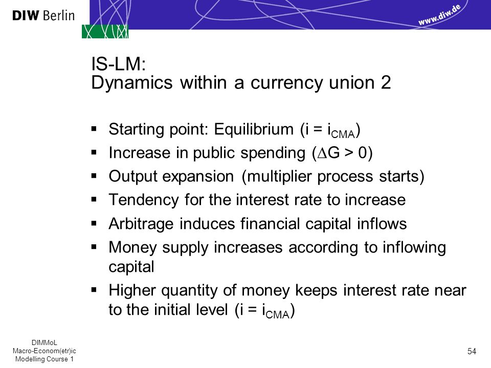 DIMMoL Macro-Econom(etr)ic Modelling Course 1 54 IS-LM: Dynamics within a currency union 2  Starting point: Equilibrium (i = i CMA )  Increase in public spending (∆G > 0)  Output expansion (multiplier process starts)  Tendency for the interest rate to increase  Arbitrage induces financial capital inflows  Money supply increases according to inflowing capital  Higher quantity of money keeps interest rate near to the initial level (i = i CMA )