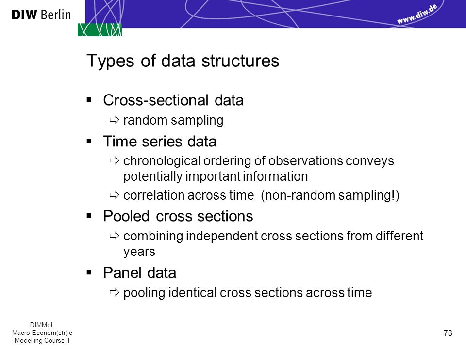 DIMMoL Macro-Econom(etr)ic Modelling Course 1 78 Types of data structures  Cross-sectional data  random sampling  Time series data  chronological ordering of observations conveys potentially important information  correlation across time (non-random sampling!)  Pooled cross sections  combining independent cross sections from different years  Panel data  pooling identical cross sections across time