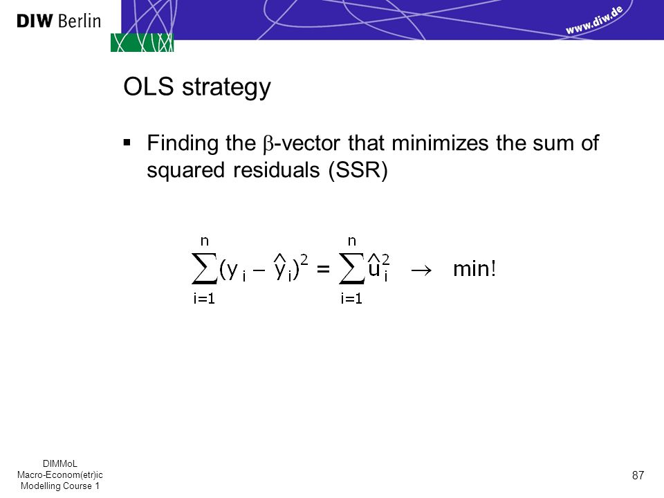 DIMMoL Macro-Econom(etr)ic Modelling Course 1 87 OLS strategy  Finding the  -vector that minimizes the sum of squared residuals (SSR)