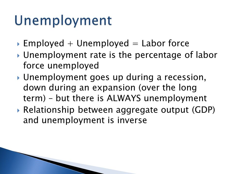  Employed + Unemployed = Labor force  Unemployment rate is the percentage of labor force unemployed  Unemployment goes up during a recession, down during an expansion (over the long term) – but there is ALWAYS unemployment  Relationship between aggregate output (GDP) and unemployment is inverse