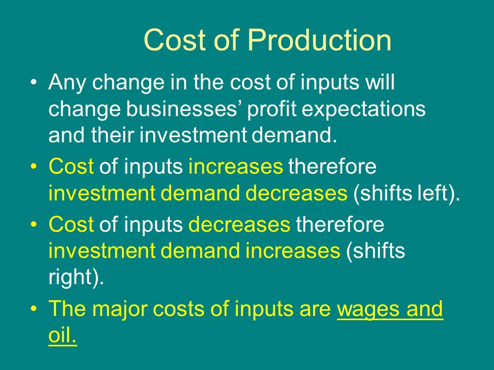 Cost of Production Any change in the cost of inputs will change businesses' profit expectations and their investment demand.