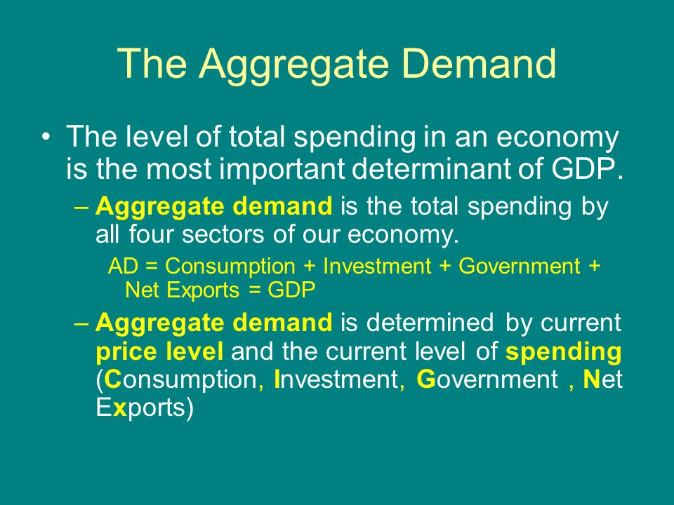 The Aggregate Demand The level of total spending in an economy is the most important determinant of GDP.