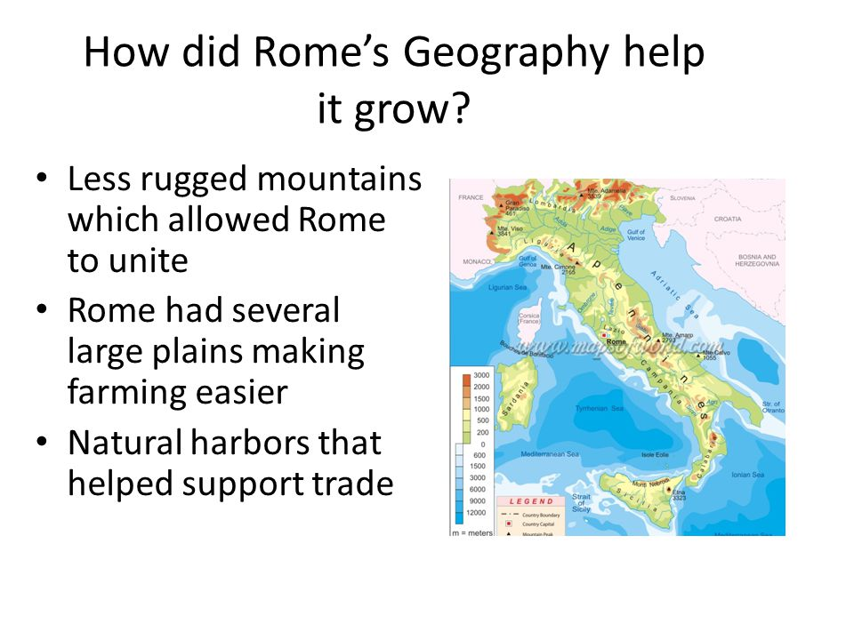How did Rome's Geography help it grow.
