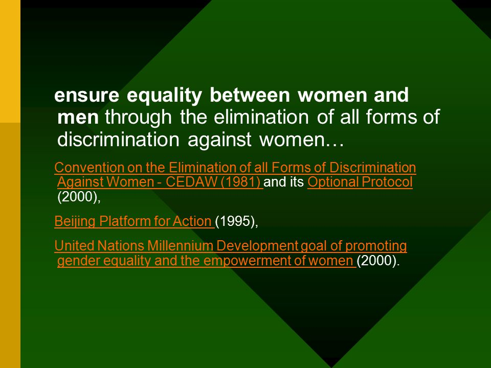 ensure equality between women and men through the elimination of all forms of discrimination against women… Convention on the Elimination of all Forms of Discrimination Against Women - CEDAW (1981) Convention on the Elimination of all Forms of Discrimination Against Women - CEDAW (1981) and its Optional Protocol (2000),Optional Protocol Beijing Platform for Action Beijing Platform for Action (1995), United Nations Millennium Development goal of promoting gender equality and the empowerment of women United Nations Millennium Development goal of promoting gender equality and the empowerment of women (2000).