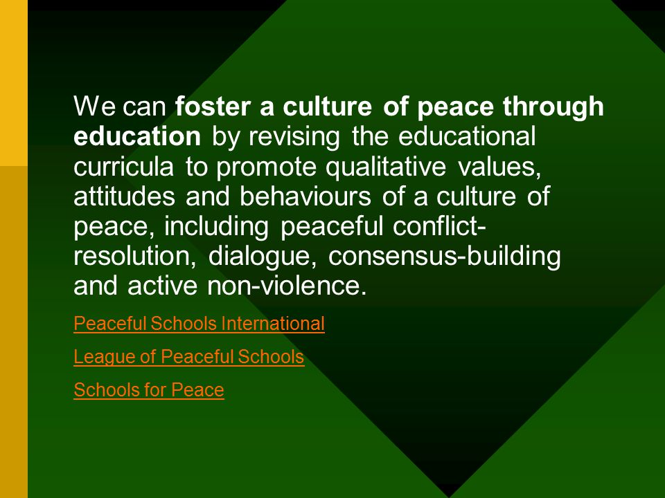 Peaceful Schools International League of Peaceful Schools Schools for Peace