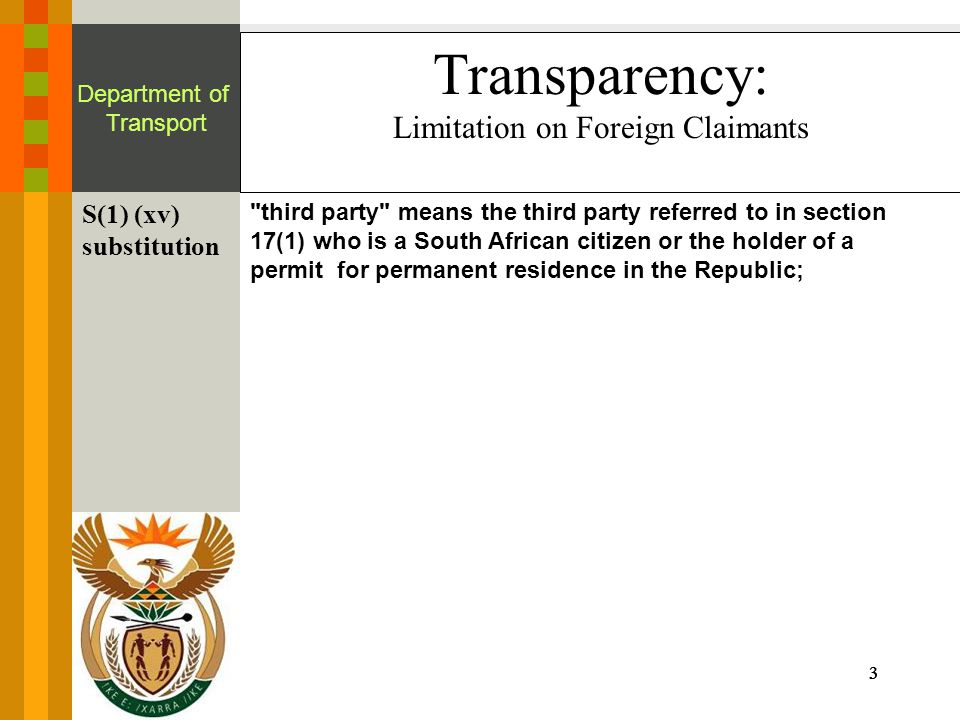 3333 Department of Transport Transparency: Limitation on Foreign Claimants S(1) (xv) substitution third party means the third party referred to in section 17(1) who is a South African citizen or the holder of a permit for permanent residence in the Republic;