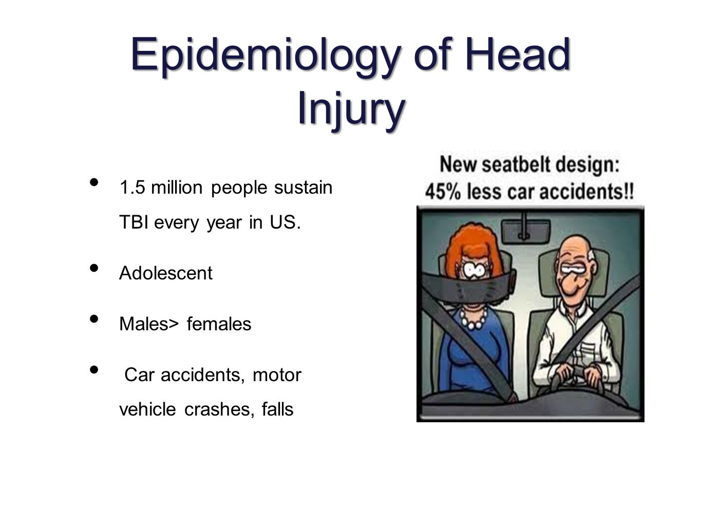 Epidemiology of Head Injury 1.5 million people sustain TBI every year in US.