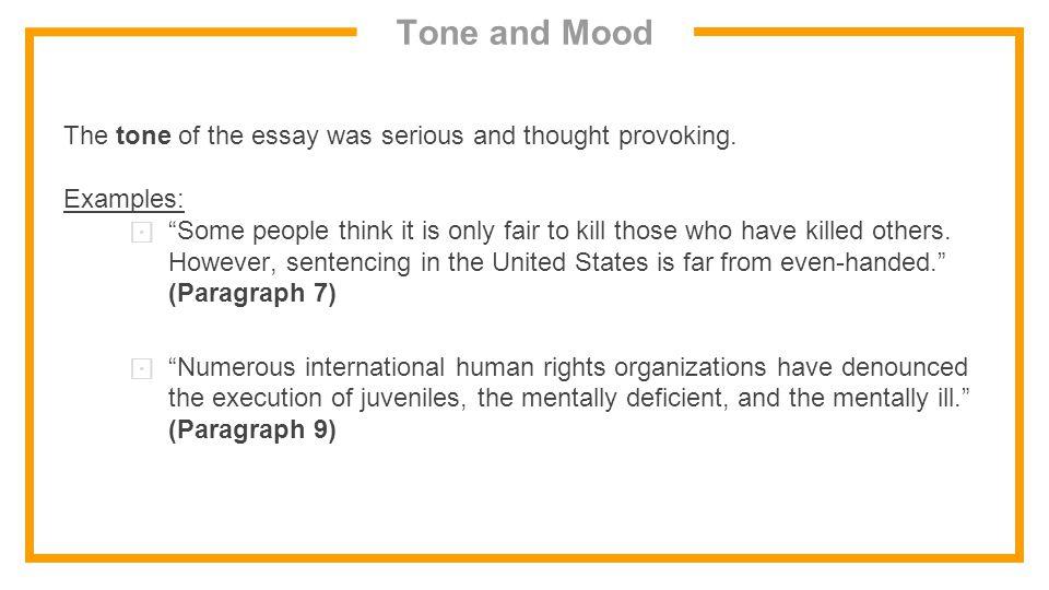 Tone of an essay