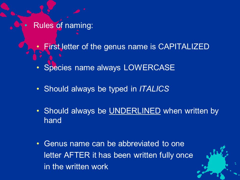 Rules of naming: First letter of the genus name is CAPITALIZED Species name always LOWERCASE Should always be typed in ITALICS Should always be UNDERLINED when written by hand Genus name can be abbreviated to one letter AFTER it has been written fully once in the written work