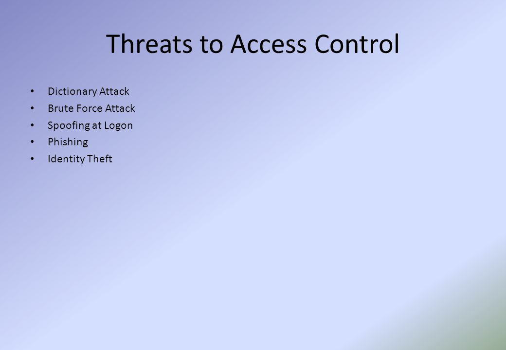 Threats to Access Control Dictionary Attack Brute Force Attack Spoofing at Logon Phishing Identity Theft