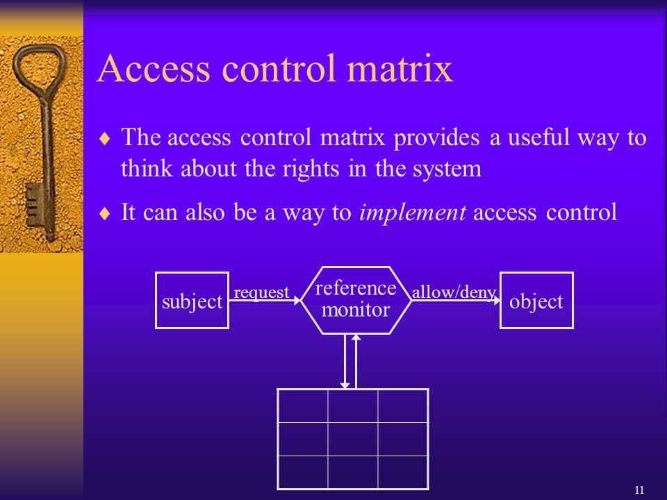 11 Access control matrix  The access control matrix provides a useful way to think about the rights in the system  It can also be a way to implement access control subject request reference monitor allow/deny object