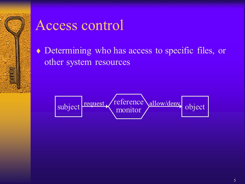 5 Access control  Determining who has access to specific files, or other system resources subject request reference monitor allow/deny object