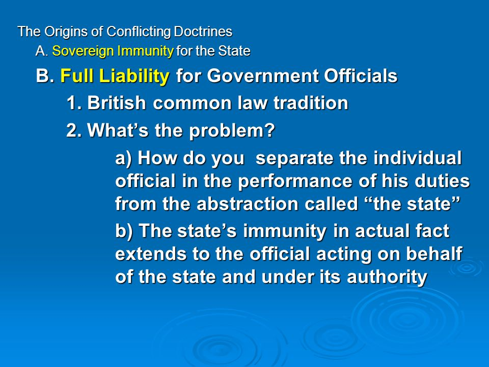 The Origins of Conflicting Doctrines A. Sovereign Immunity for the State B.