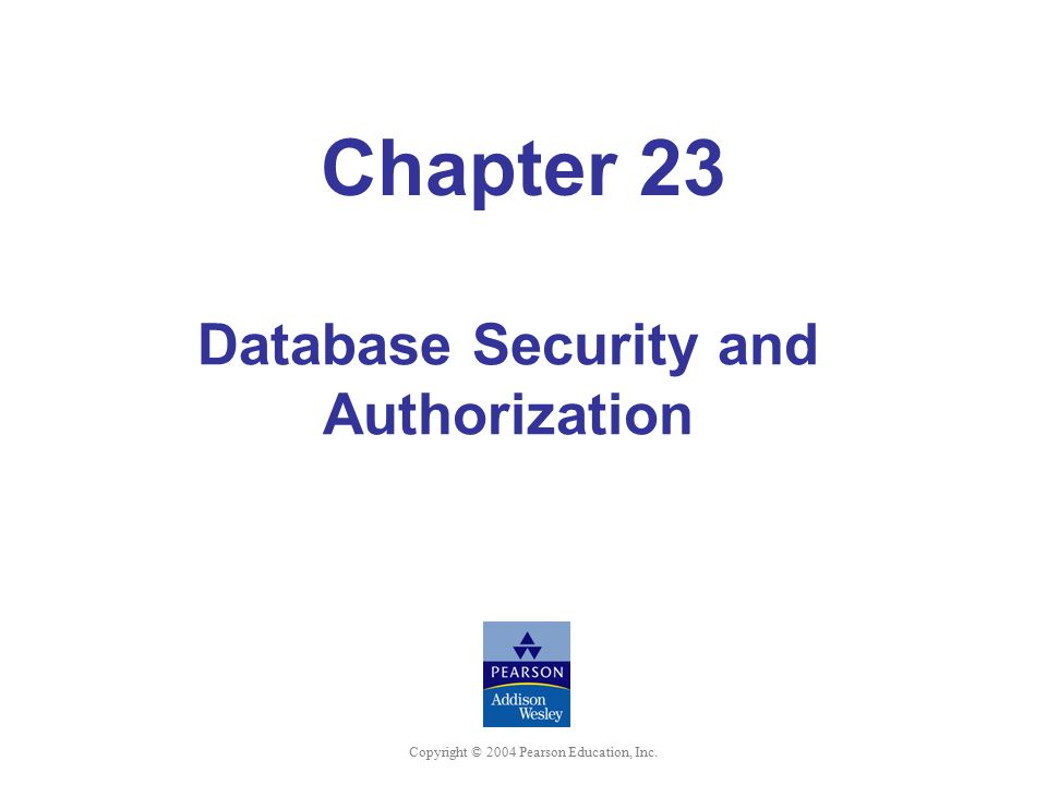 Chapter 23 Database Security and Authorization