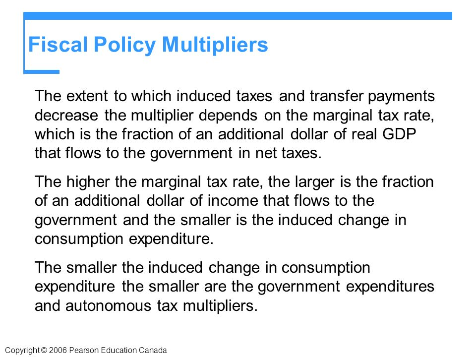 Copyright © 2006 Pearson Education Canada Fiscal Policy Multipliers The extent to which induced taxes and transfer payments decrease the multiplier depends on the marginal tax rate, which is the fraction of an additional dollar of real GDP that flows to the government in net taxes.