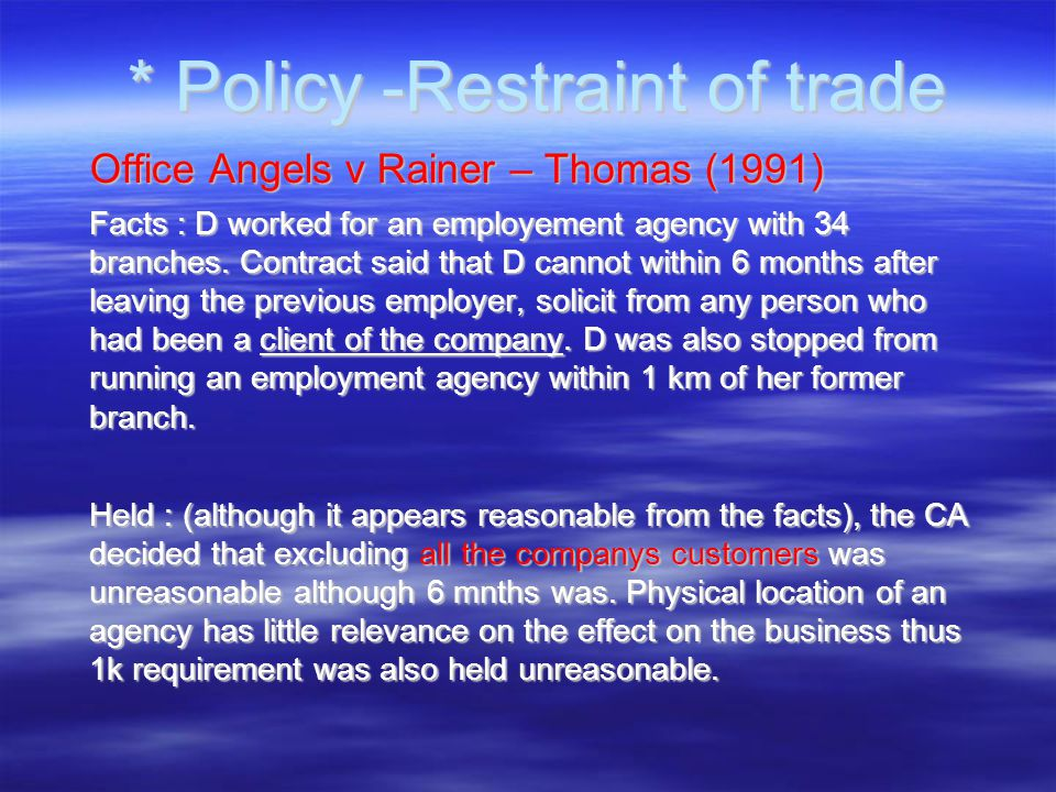 employment restraint of trade