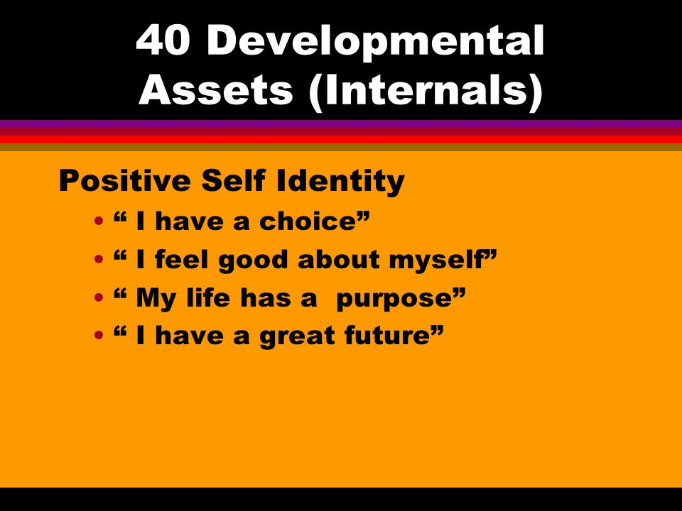 40 Developmental Assets (Internals) Social competencies Know how to plan ahead and make choices Has empathy, sensitivity and friendship skills Comfort