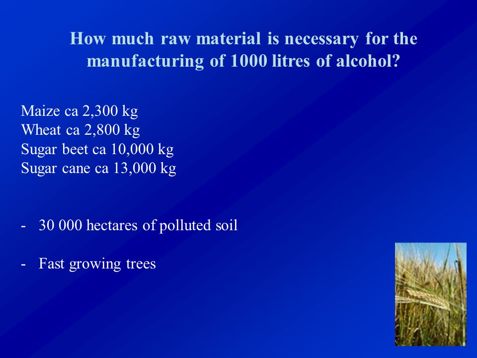 How much raw material is necessary for the manufacturing of 1000 litres of alcohol.