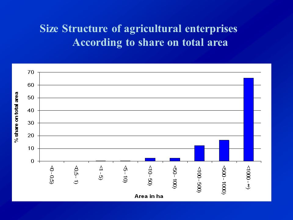 Size Structure of agricultural enterprises According to share on total area
