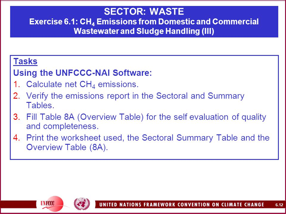 6.12 SECTOR: WASTE Exercise 6.1: CH 4 Emissions from Domestic and Commercial Wastewater and Sludge Handling (III) Tasks Using the UNFCCC-NAI Software: 1.Calculate net CH 4 emissions.