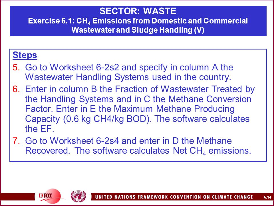 6.14 SECTOR: WASTE Exercise 6.1: CH 4 Emissions from Domestic and Commercial Wastewater and Sludge Handling (V) Steps 5.Go to Worksheet 6-2s2 and specify in column A the Wastewater Handling Systems used in the country.