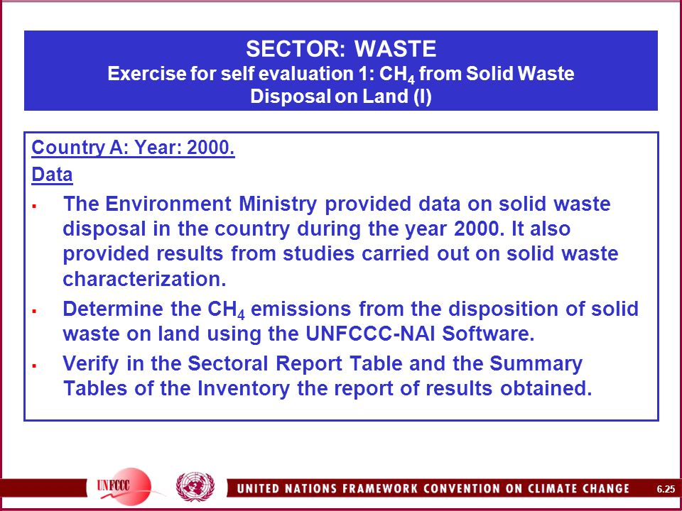 6.25 SECTOR: WASTE Exercise for self evaluation 1: CH 4 from Solid Waste Disposal on Land (I) Country A: Year: 2000.