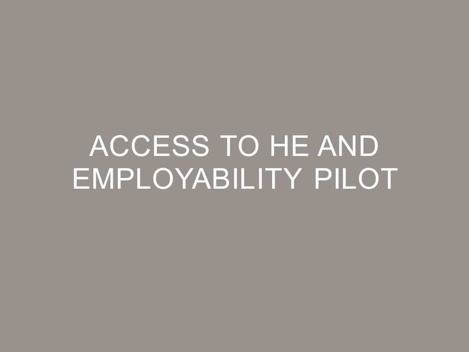 ACCESS TO HE AND EMPLOYABILITY PILOT
