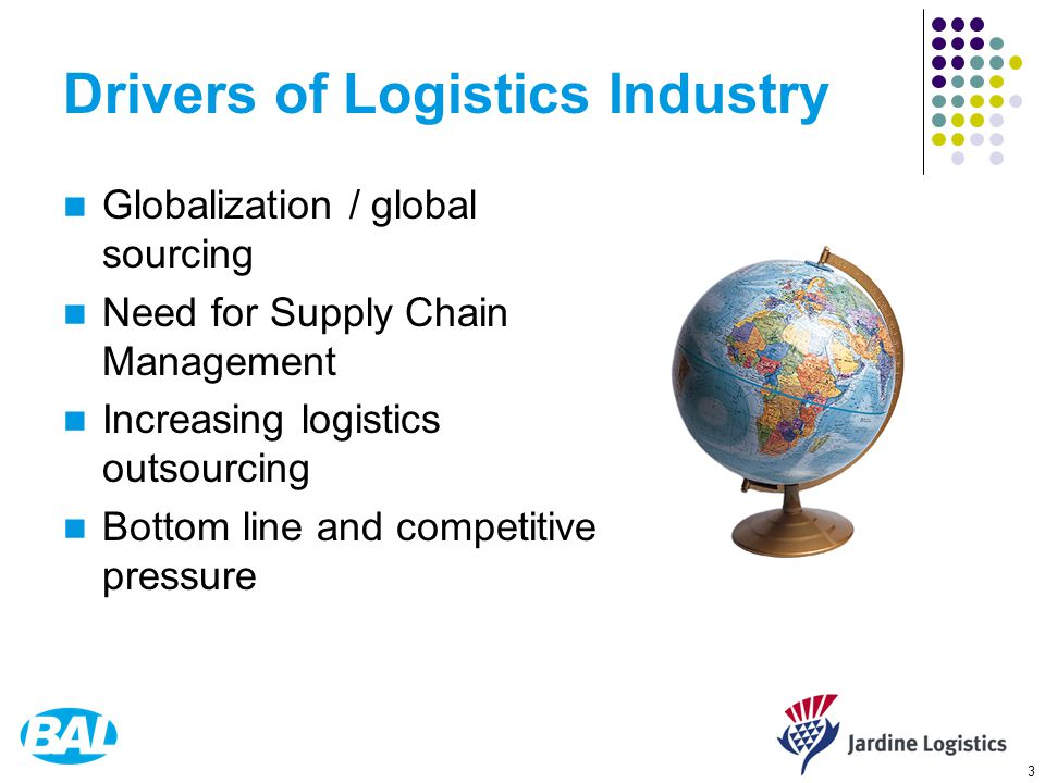 3 Drivers of Logistics Industry Globalization / global sourcing Need for Supply Chain Management Increasing logistics outsourcing Bottom line and competitive pressure