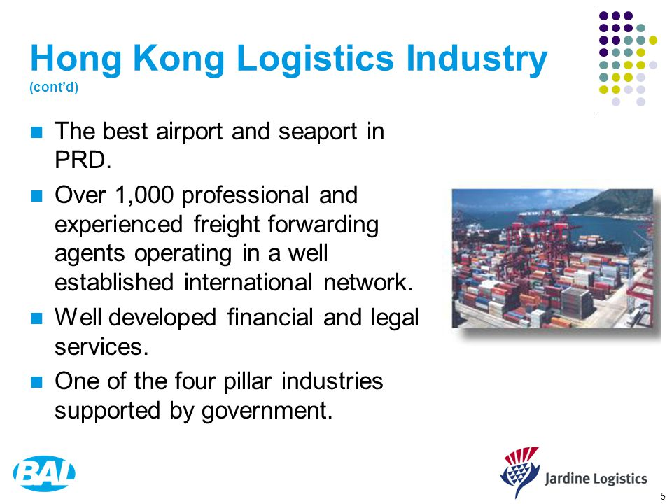 5 Hong Kong Logistics Industry (cont'd) The best airport and seaport in PRD.