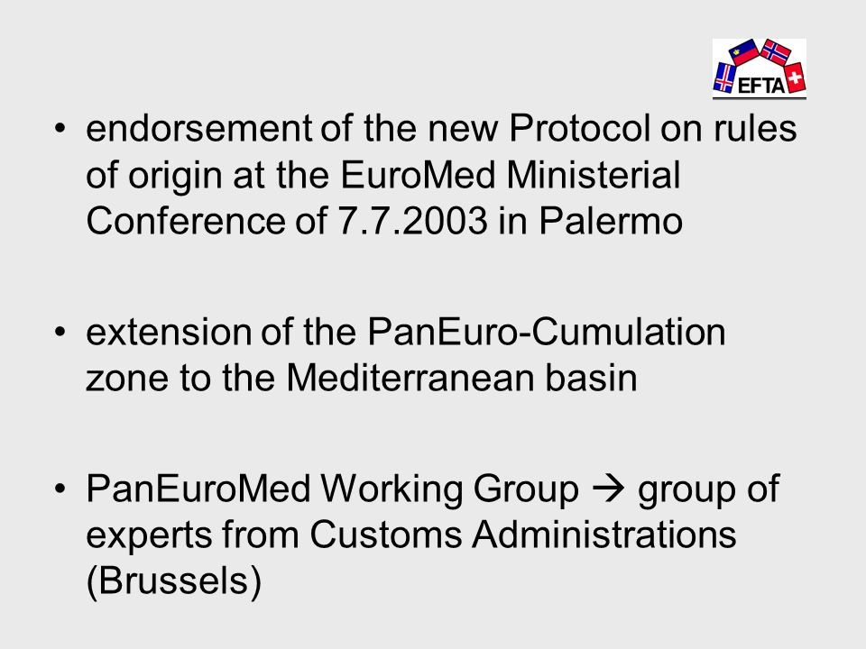 endorsement of the new Protocol on rules of origin at the EuroMed Ministerial Conference of in Palermo extension of the PanEuro-Cumulation zone to the Mediterranean basin PanEuroMed Working Group  group of experts from Customs Administrations (Brussels)